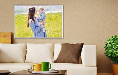 Fotopuzzelkader ophangen